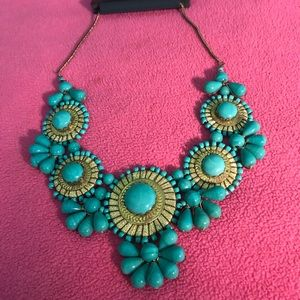 Faux Turquoise and Gold Necklace